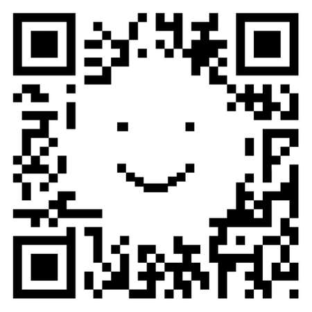 qrcode: QR code sample in the shape of a smiling face isolated on white background Stock Photo