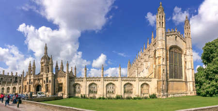 cambridgeshire: Panorama of the famous Kings college university of Cambridge and chapel in Cambridge, UK Editorial