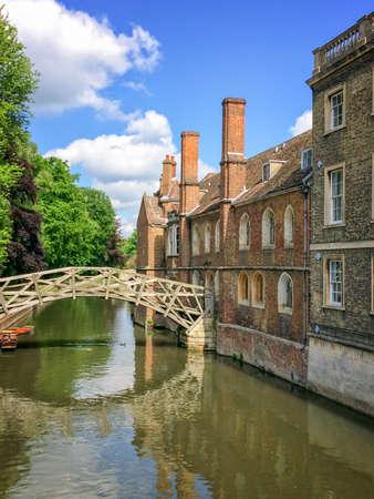cambridgeshire: Mathematical bridge on the river Cam and the Queens college university of Cambridge, in Cambridge, UK