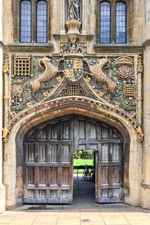 cambridgeshire: The great gate of Christs college university of Cambridge, in Cambridge, UK