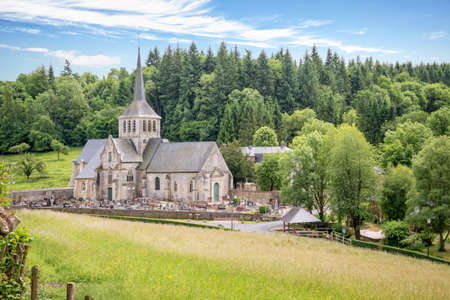 priory: Church and priory of St Hymer, scenic landscape of the french countryside of Normandy, France