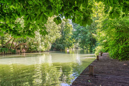 Island on the river Marne, named The little Venice of the Val de Marne near Paris and Creteil, France