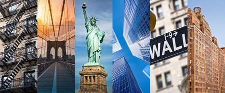 ニューヨーク、パノラマ写真のコラージュ、ニューヨークのランドマークの旅行と観光の概念