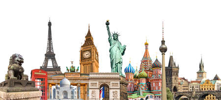World landmarks photo collage isolated on white background, travel, tourism and study around the world concept