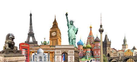 De fotocollage van wereldoriëntatiepunten die op witte achtergrond, reis, toerisme en studie rond het wereldconcept wordt geïsoleerd