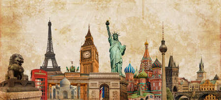 World landmarks photo collage on vintage tes sepia textured background, travel, tourism and study around the world concept, vintage postcard Stockfoto