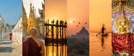 버마 (미얀마), 파노라마 사진 콜라주, 버마어 심볼, 버마 여행 및 관광 컨셉 스톡 콘텐츠