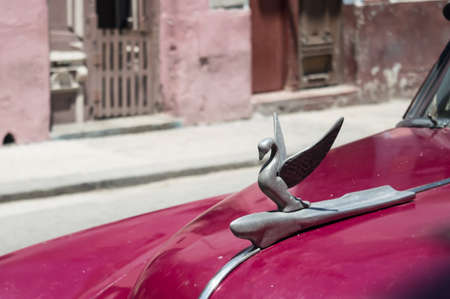 Swan emblem on a vintage car of the (now disappeared) Packard company, in Havana Cuba Banco de Imagens