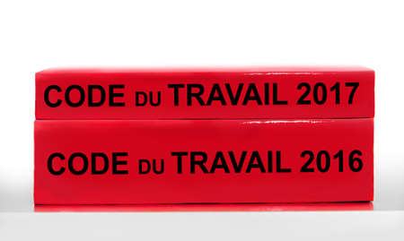 New thinner French labor code book, labor code law reform in France concept Stock Photo