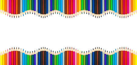 Waves of colorful wooden pencils isolated on white background, blank frame back to school, art and creativity concept