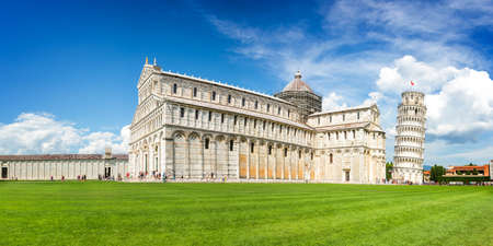 Panorama of the leaning tower of Pisa and the cathedral (Duomo) in Pisa, Tuscany, Italy