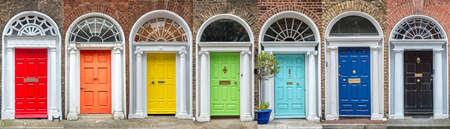 Panoramic rainbow colors collection of doors in Dublin, Ireland Foto de archivo