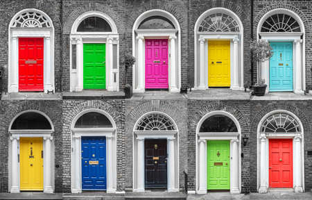 Colorful collection of doors in Dublin, Ireland