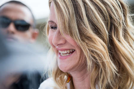 Laura Dern signing autographs on the Promenade des Planches during the 43rd Deauville American Film festival, on August 2, 2017 in Deauville, France