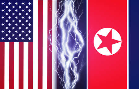 nuke: Lightnings effect between flags of USA and North Korea. Concept of conflict between two nations, Washington and Pyongyang.