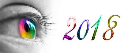 2017 e colorato intestazione arcobaleno occhio, concetto 2017 di nuovo anno saluti