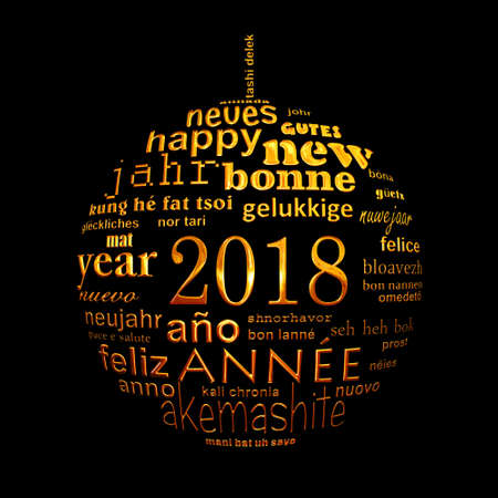 multilingual: 2018 new year multilingual text word cloud greeting card in the shape of a golden christmas ball on black background