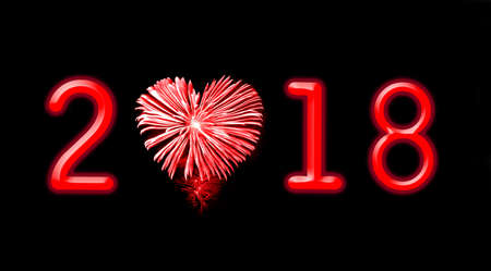 2018, red fireworks in the shape of a heart