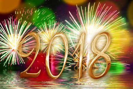 2018 golden numbers, fireworks background