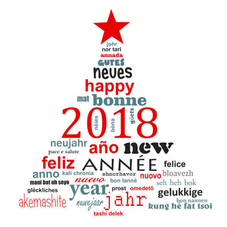 2018 new year multilingual text word cloud greeting card in the shape of a christmas tree