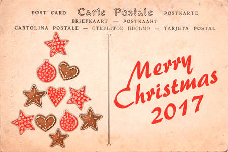 Merry Christmas 2017 on a vintage postcard background