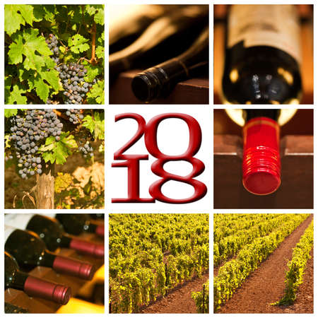 2018 red wine square photos collage greeting card