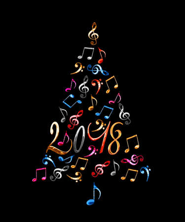 2018 christmas tree with silver metal musical notes isolated on black background