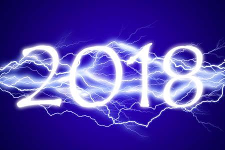 2018, lightening effect Stock Photo