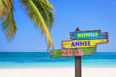 Bonne annee 2018 (프랑스어로 행복 한 새 해 의미) 컬러 나무 방향 표지판, 해변과 팜 트리 배경