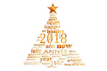 2018クリスマスツリーの形で新年多言語テキストワードクラウドグリーティングカード