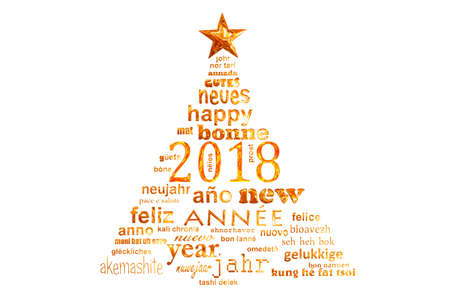 2018 new year multilingual text word cloud greeting card in the shape of a christmas tree Banco de Imagens - 89841684