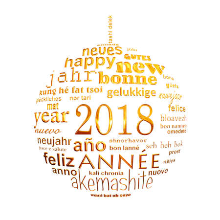 2018 new year multilingual text word cloud greeting card in the shape of a golden christmas ball on white background