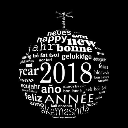 2018 new year multilingual text word cloud greeting card in the shape of a white christmas ball on black background Stock Photo