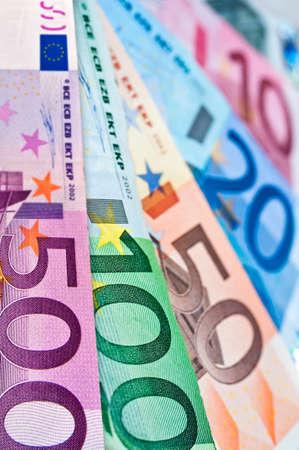 Close up of euros money banknotes Stock Photo