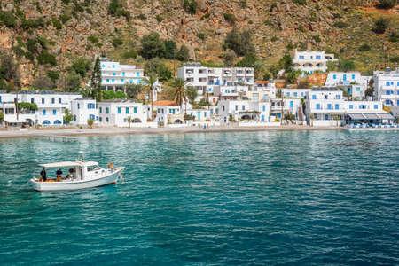 Scenic village of Loutro and the mediterranean sea  in Crete, Greece Banco de Imagens - 101532241