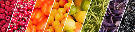 Fresh fruits and vegetables rainbow panoramic collage, healthy eating concept
