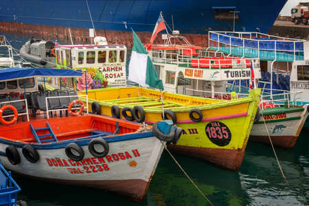 Colorful boats in the harbor of Valparaiso, Chile