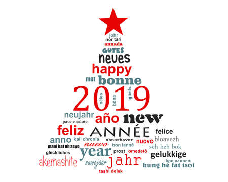 2019 new year multilingual text word cloud greeting card in the shape of a christmas tree