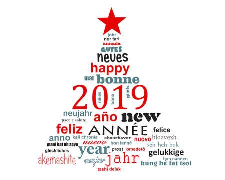Carte de voeux de nuage de mots de texte multilingue du nouvel an 2019 en forme d'arbre de noël