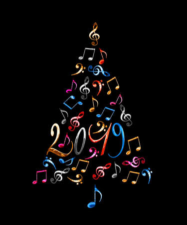 2019 christmas tree with colorful metal musical notes isolated on black background Stock Photo