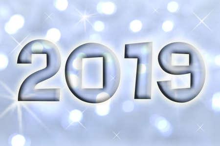 2019 greeting card on blue shiny holiday lights background Stock Photo