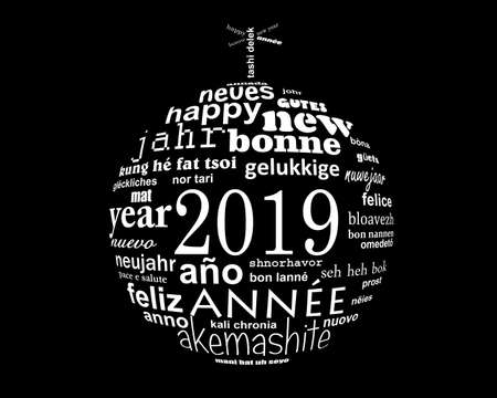 2019 new year multilingual text word cloud  in the shape of a christmas ball