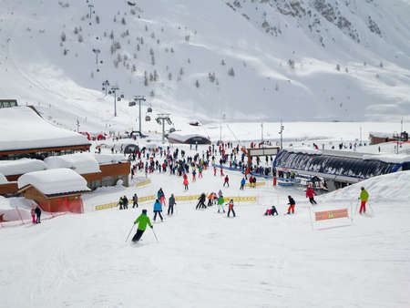 Ski station of Tignes in winter, departure of the ski lifts
