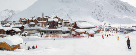 Village of Tigne le Lac covered with snow in winter, the Alps France Editorial