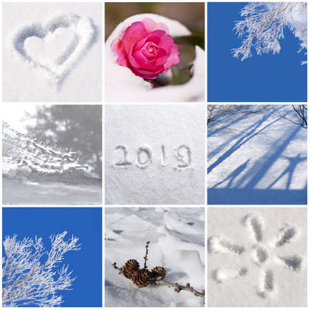 2019, snow and winter nature photos collage