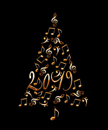 2019 christmas tree with golden metal musical notes isolated on black background