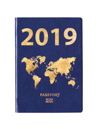 Passport 2019 with a world map on the cover, concept Stock Photo