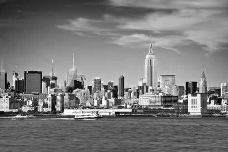 New York skyline and Hudson river in black and white