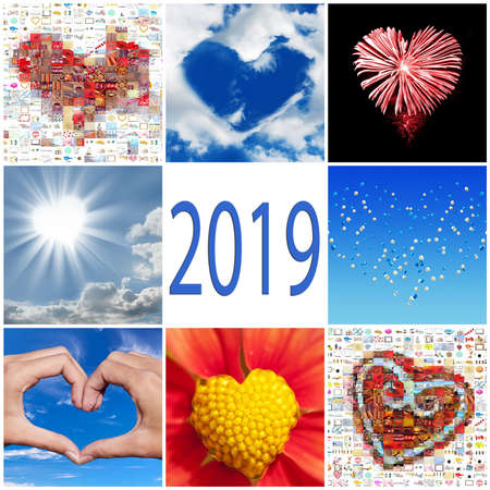 2019 collection of hearts greeting card Stock Photo