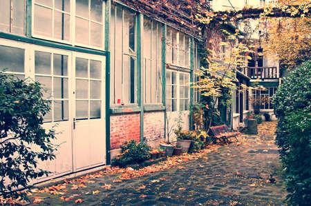 Picturesque parisian alley in autumn, Paris, France